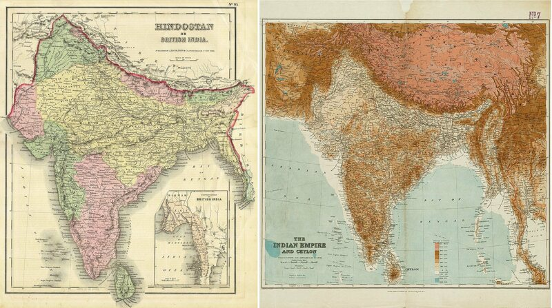 India as charted in the 19th and 20th centuries. Left: 1855 (American); Right: 1920 (British).