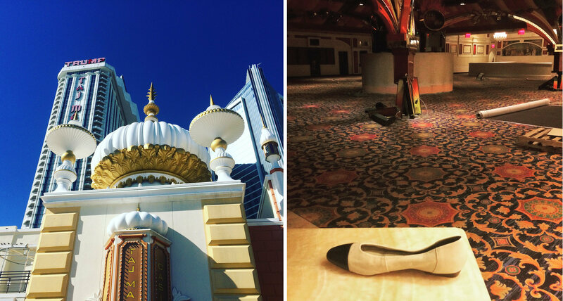 Trump's billion dollar Taj Mahal today, the minarets and, right, gold paint masks the deserted gambling floor inside the Showboat.