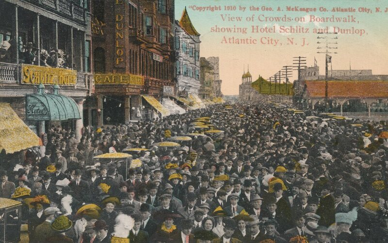 Better times, better crowds. A view of the Atlantic City Boardwalk in 1910.