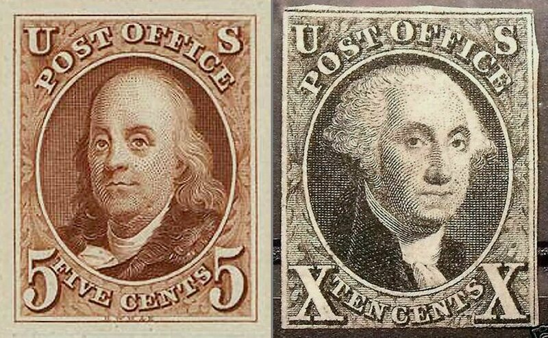 The first two stamps released in the United States depicted Benjamin Franklin, left, and George Washington, right.