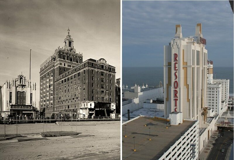 Two historic hotels of very different eras. Left: The Shelburne (torn down in 1984) was a second home to entertainers in pre-casino Atlantic City; Right: Resorts Hotel (opened 1978) was the first legal casino in the US outside of Nevada.