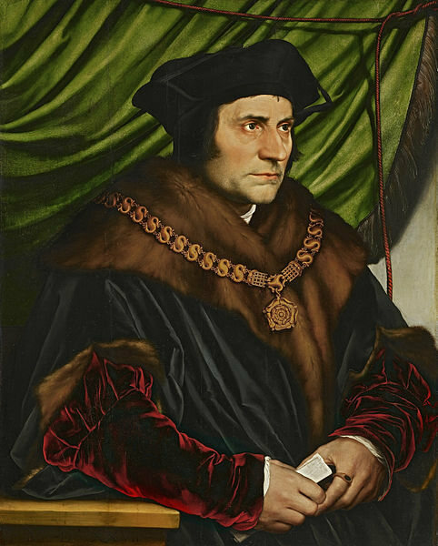 A portrait of Sir Thomas More, who wrote a jest book before writing <em>Utopia</em>.