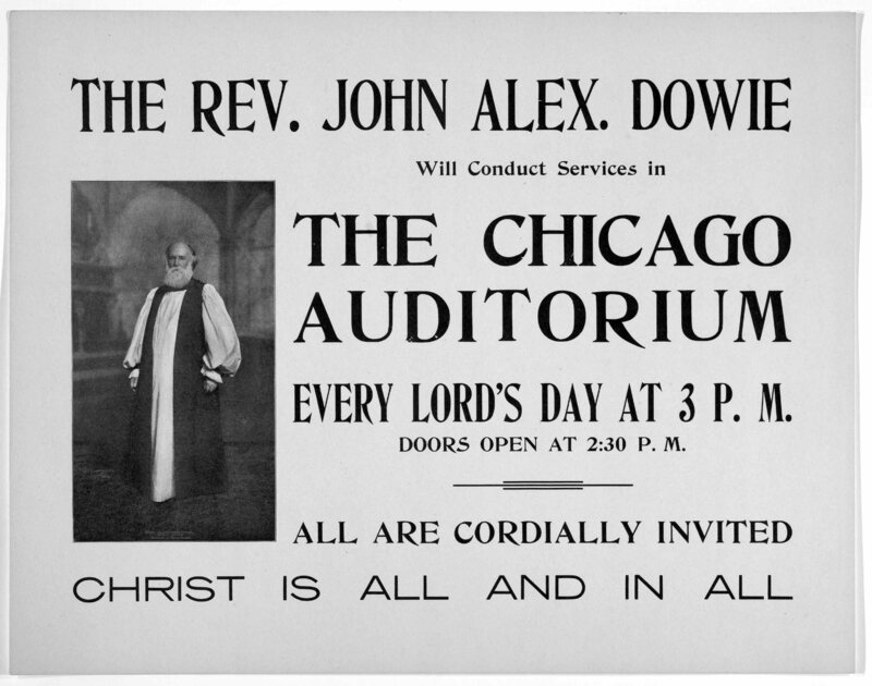 An advertisement for John Dowie's sermons in Chicago, 1900.