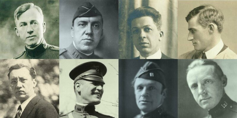 The AEF Combat Artists (clockwise from top left: William James Aylward, J. André Smith, Harry Everett Townsend, George Matthews Harding, Walter Jack Duncan, Ernest Clifford Peixotto, Harvey Thomas Dunn, Wallace Morgan).