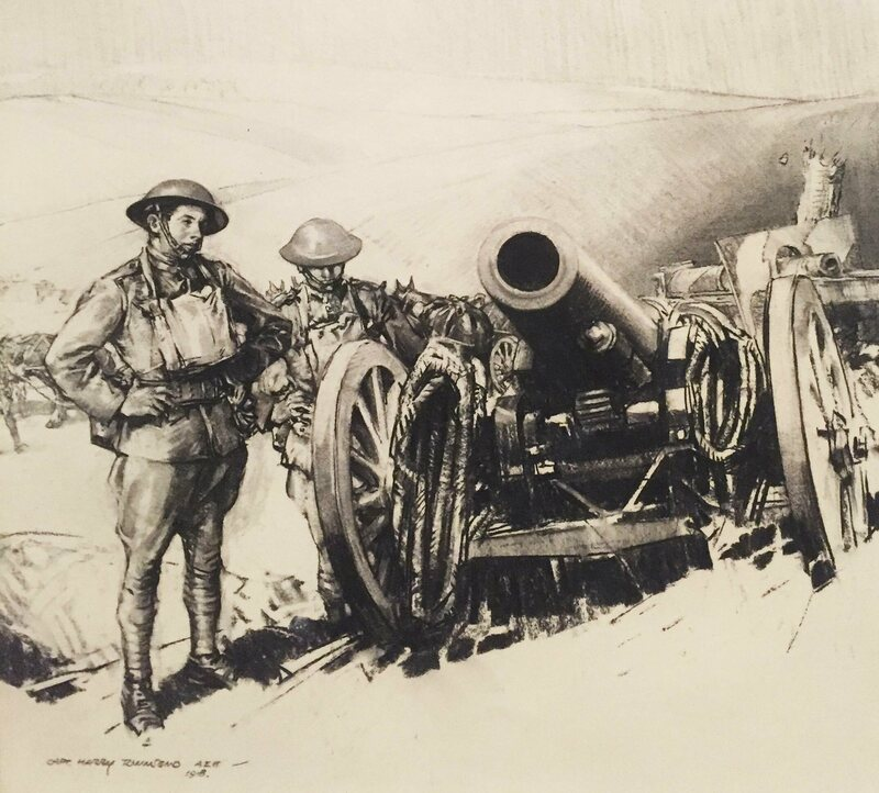 """Left by the Hun, 152 mm mortar,"" by Harry Everett Townsend."