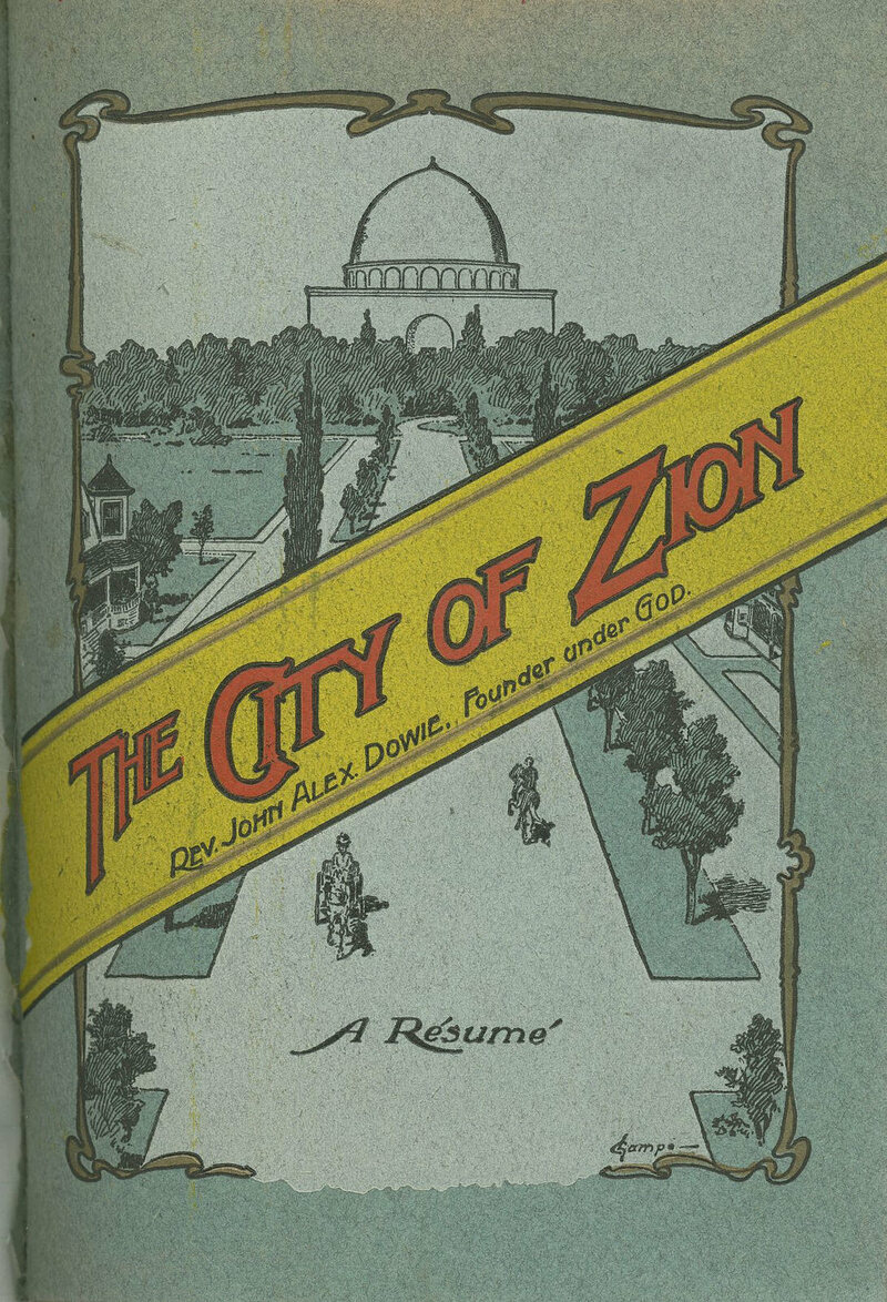 The front page of a City of Zion brochure, from the early 1900s.