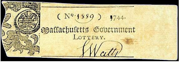 A Massachusetts lottery ticket, 1744.