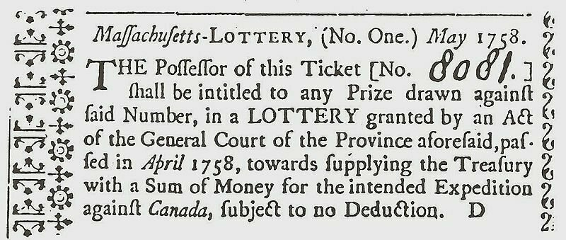 A ticket for a lottery in Massachusetts, 1758.