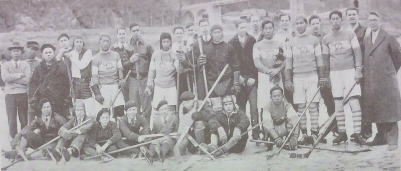 The ice hockey teams of Pyongyang Foreign School and Chosun Christian College (now Yonsei University) on the frozen Taedong River, 1933.