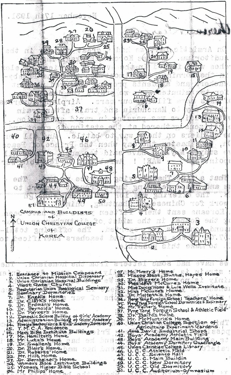 Map of the Presbyterian mission in Pyongyang, hand-drawn by Evelyn Becker McCune, 1930.
