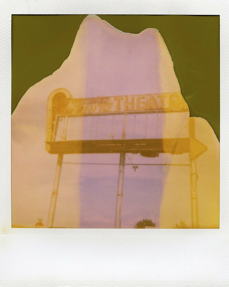 Polaroid of Sequoia Auto Theater, Visalia, California.