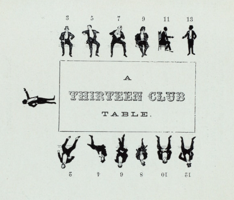 A proper Thirteen Club table, illustrated in the booklet that accompanied the 257th official meeting.