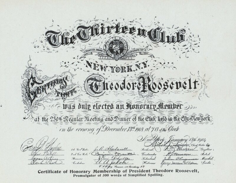A certificate naming Theodore Roosevelt as an honorary member of the Thirteen Club.