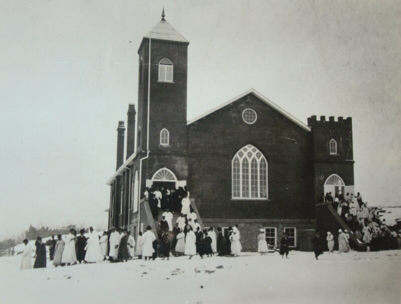 West Gate Church, with the seminary visible in the background, 1920s.