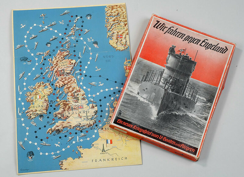 A board game produced around 1939 allowed German children to imagine themselves strangling the British coastline with aircraft and U-boats.