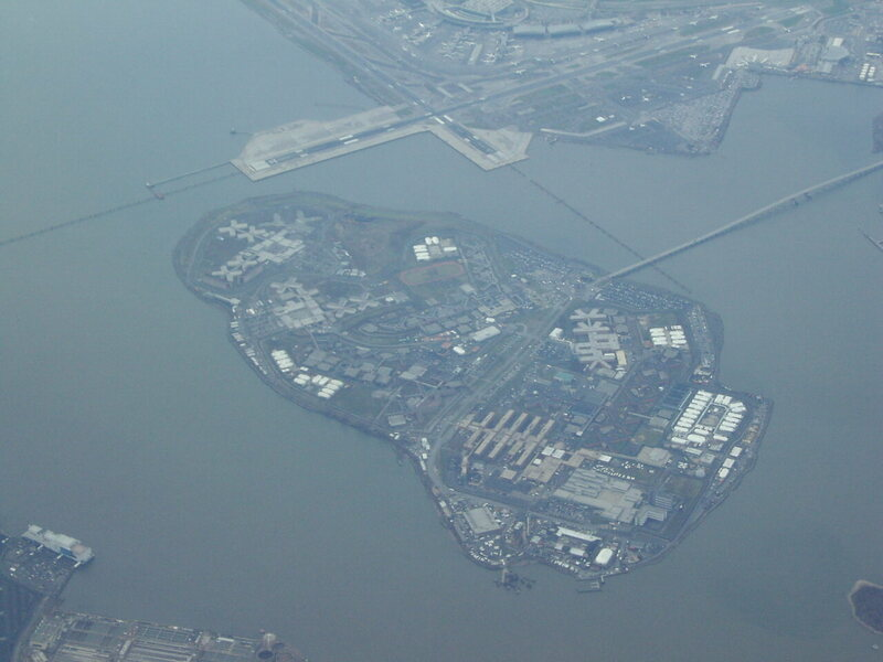 An aerial view of Rikers Island.