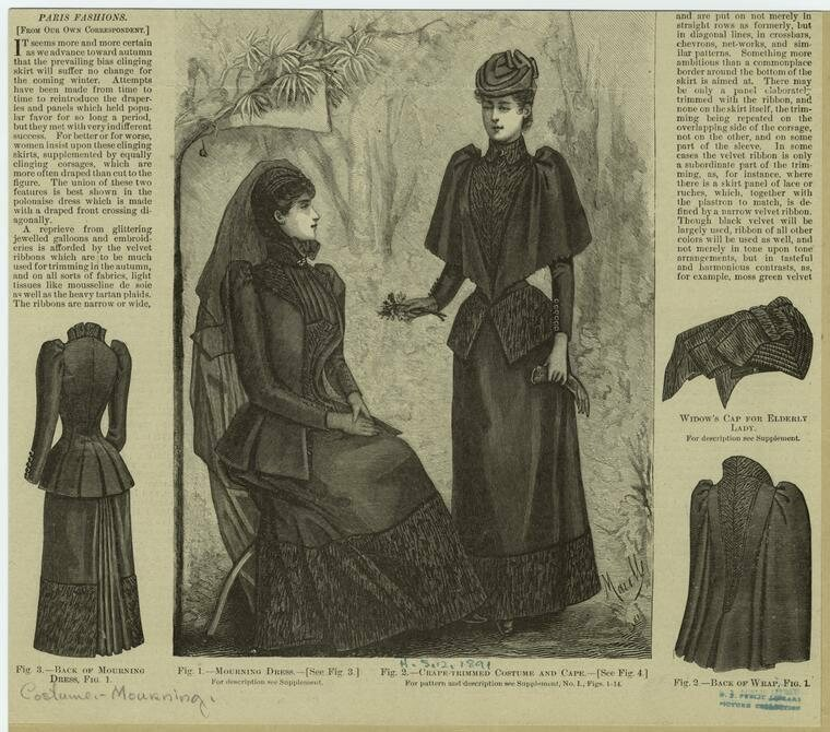 Victoria mourning fashion from <em>Harper's Bazaar</em>, 1891.