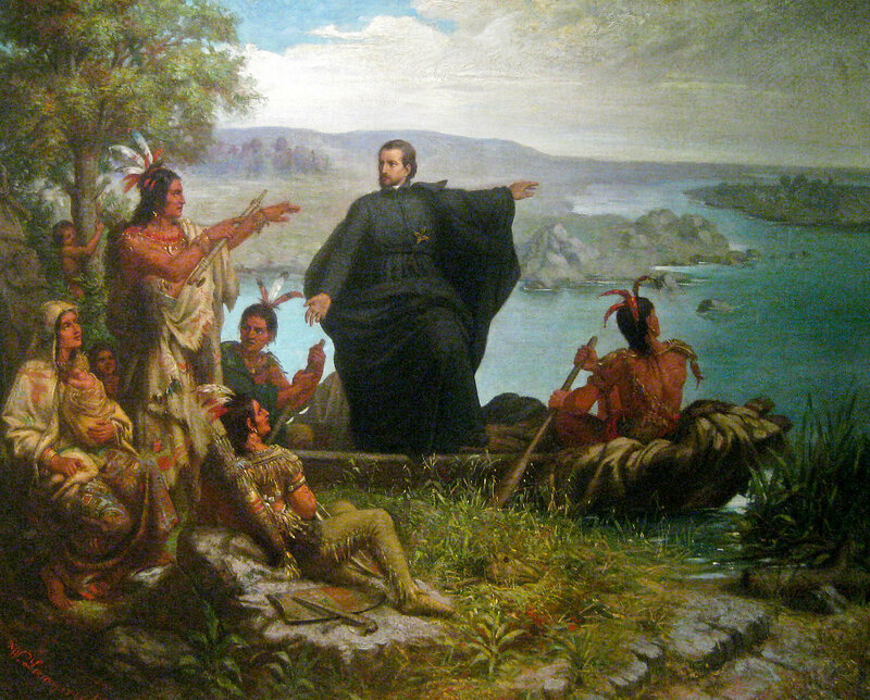 The 17th-century Jesuit missionary Jacques Marquette, pictured preaching to and learning from Native Americans on the Mississippi river.