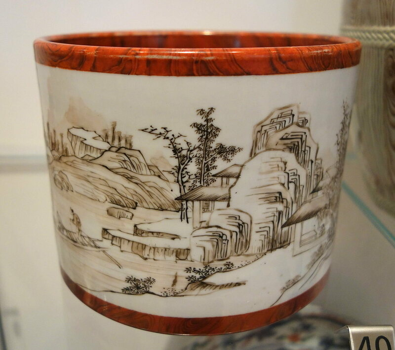 A brush-painted porcelain pot, made in Jingdezhen in the mid-1700s.