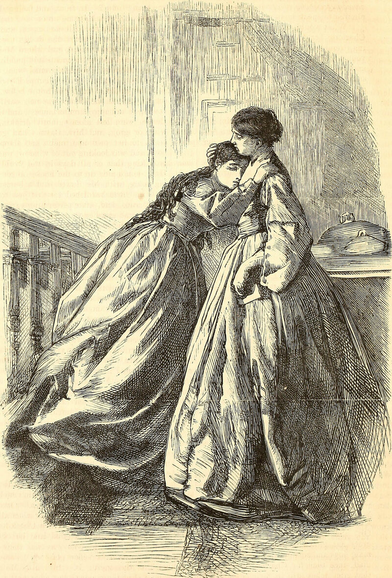 An illustration from <em>Harper's New Monthly Magazine</em>, 1850, of a woman crying.