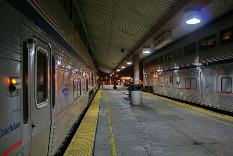 Amtrak trains at Union Station in LA.