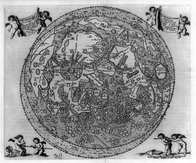 A 17th-century map of the moon.