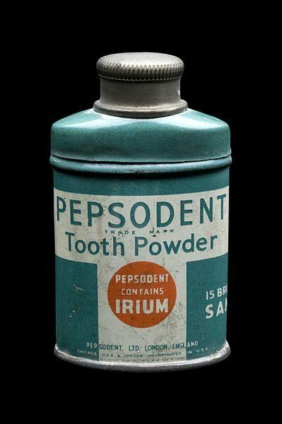 "A bottle of Pepsodent advertising its made-up radioactive ingredient, ""irium."""