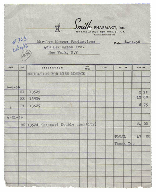 """An invoice for four medical prescriptions from Smith Pharmacy, dated June 21, 1956, addressed to Marilyn Monroe Productions, and annotated """"MM""""—likely Marilyn's own handwritten initials, approving payment for this expense."""