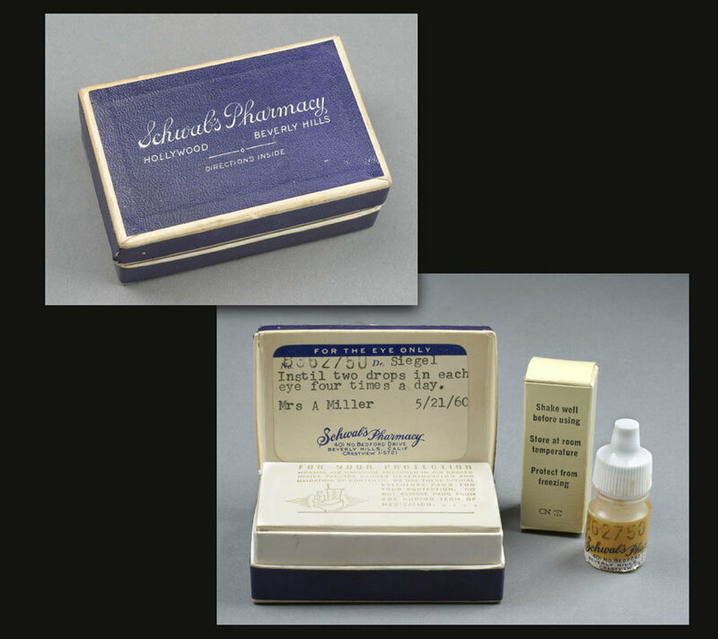 Eye drops prescribed to Marilyn Monroe (then Mrs. Arthur Miller) dated May 21, 1960, issued by Los Angeles's Schwab's Pharmacy, accompanied by Schwab's Pharmacy box.