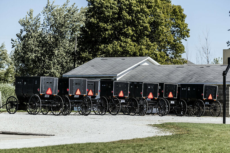 A row of Amish buggies in Elkhart County, Indiana.