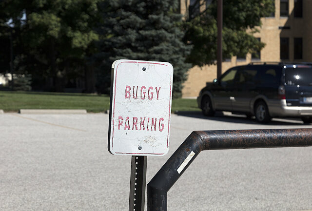 Buggy parking sign in Middlesbury, Elkhart County, Indiana.