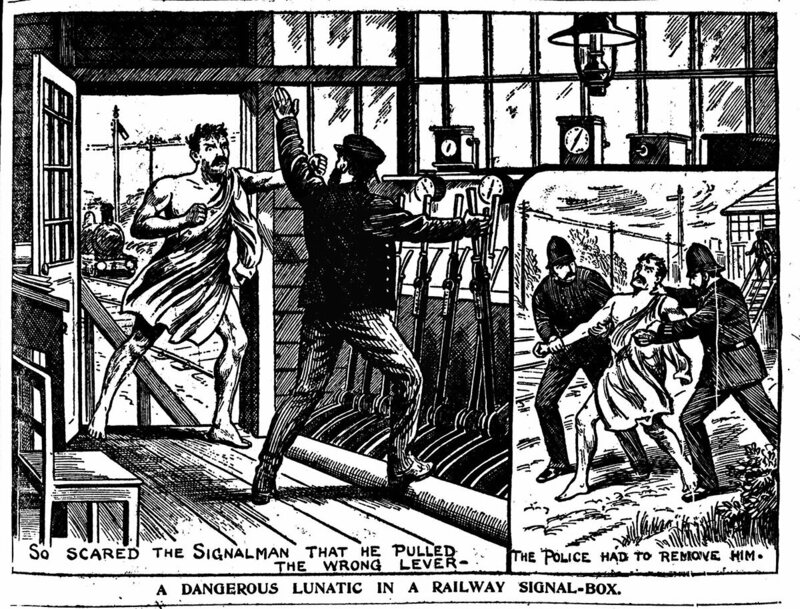 """A Dangerous Lunatic In A Railway Signal Box"", <em>Illustrated Police News</em>, Saturday 27 August 1904."