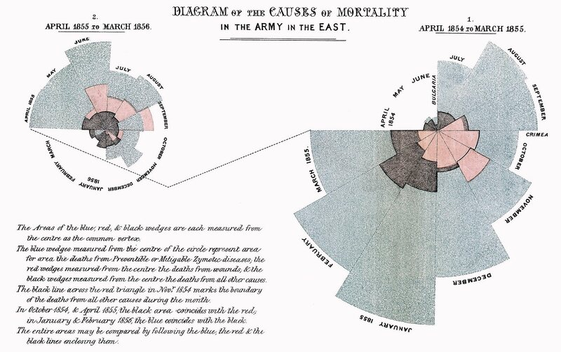 Florence Nightingale's most famous infographic, comparing causes of mortality for British soldiers in the Crimean War.