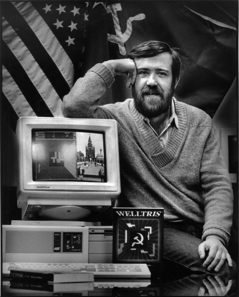 "January 16, 1990: Alexey Pajitnov, the Russian developer behind ""Tetris,"" poses in Alameda with another of his games, ""Welltris."""