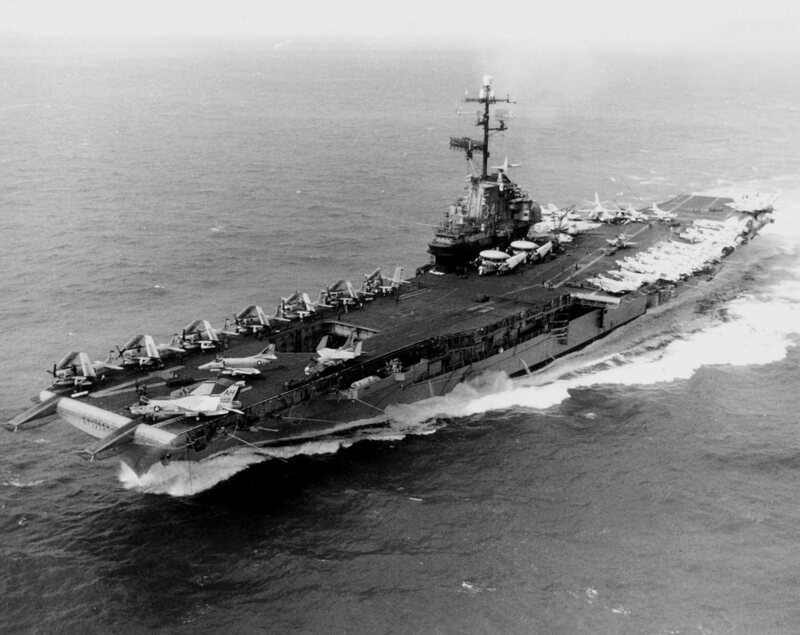 The USS Oriskany in 1967, during its above-water days.
