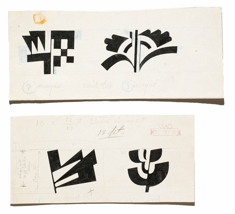 A sampling of Electra Abstract, another set of typographic symbols made by Dwiggins. (These ones didn't make it.)