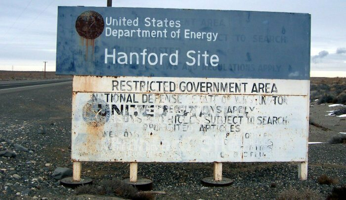 A highway sign foretells the decay of the Hanford Site.