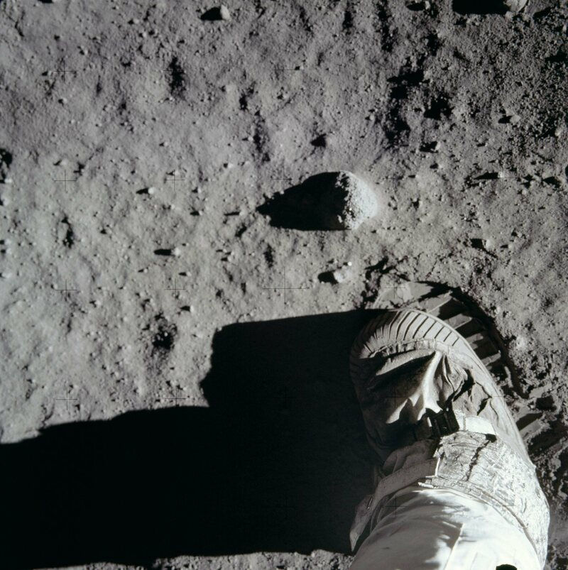 The moon's surface on the Apollo 11 mission.