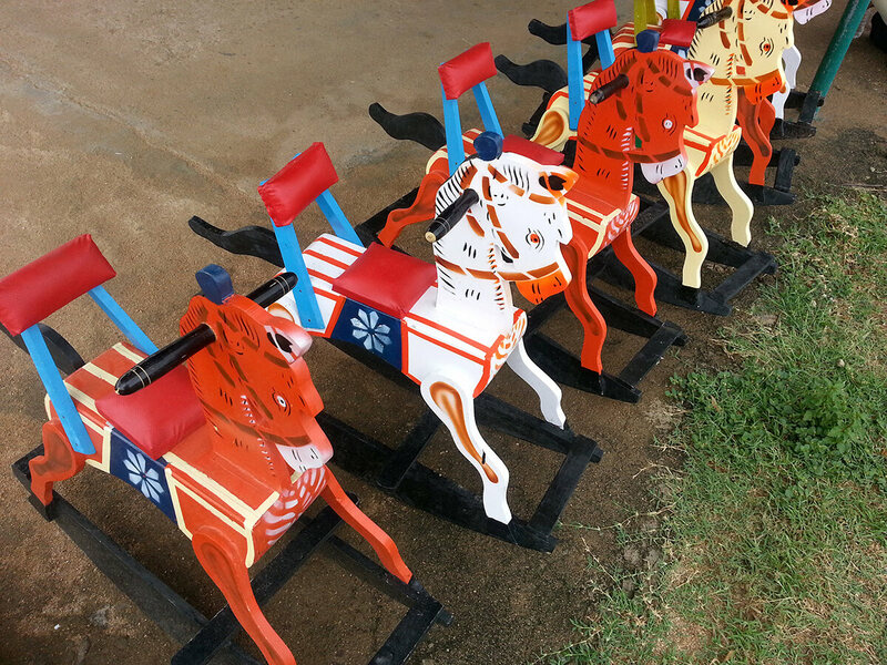 Rocking horses are one of the most popular purchases at Channapatna.