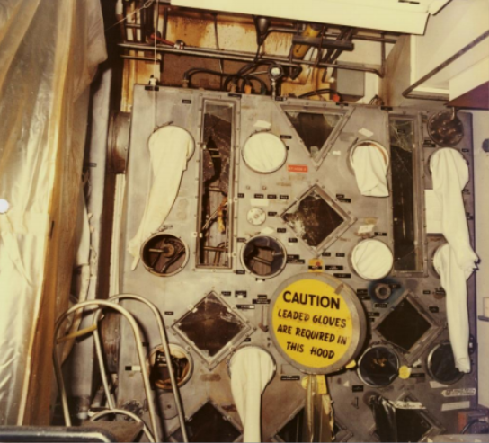 A glove box in the Americium Recovery Facility immediately after the explosion that irradiated Harold McCluskey.