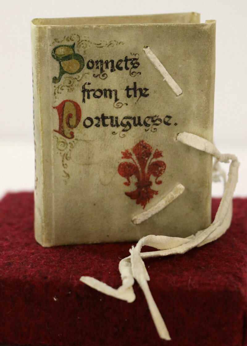 A handset edition, bound in limp vellum, of <em>Sonnets from the Portuguese</em>, by Elizabeth Barrett Browning, Venice, 1906.