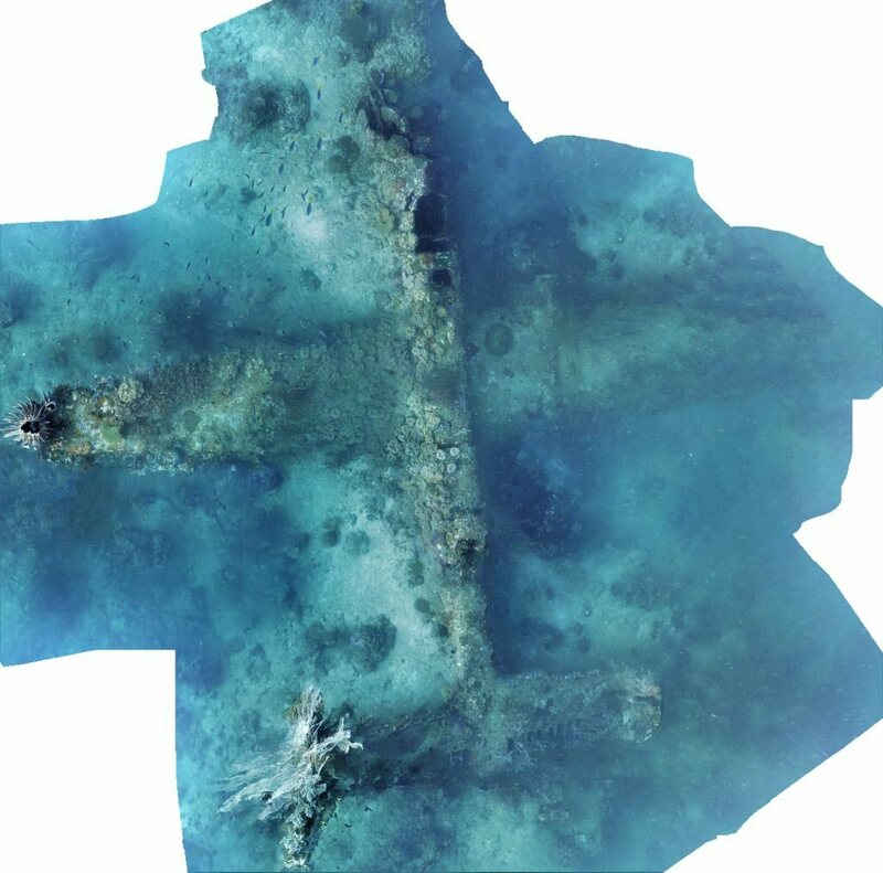 Photomosaic of the known B-25 on the seafloor.