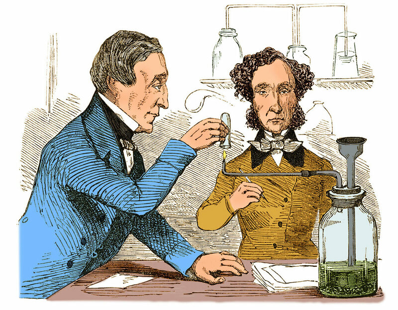 An illustration of two scientists performing Marsh's Test, 1856.