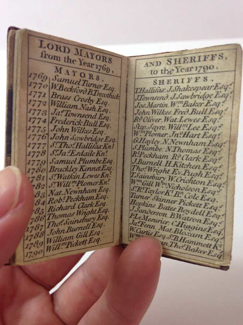 An almanac, published by the Company of Stationers, London, 1790.