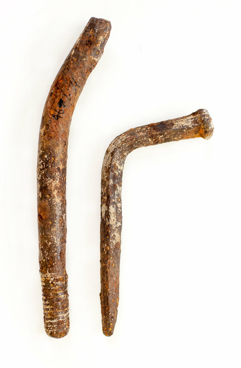 There's an ongoing debate whether a threaded rod like the one found on Manitoulin Island, on the left, was used in the 17th century.