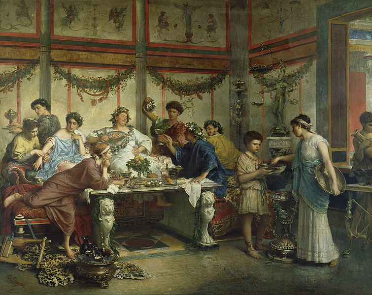A depiction of a Roman feast, by Roberto Bompiani.