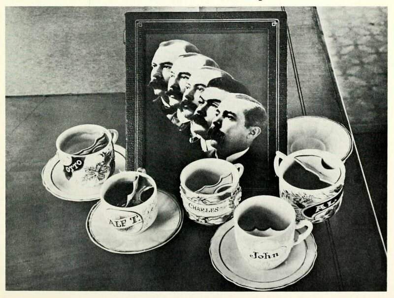 A photo of the Ringling Brothers and their mustache cups.