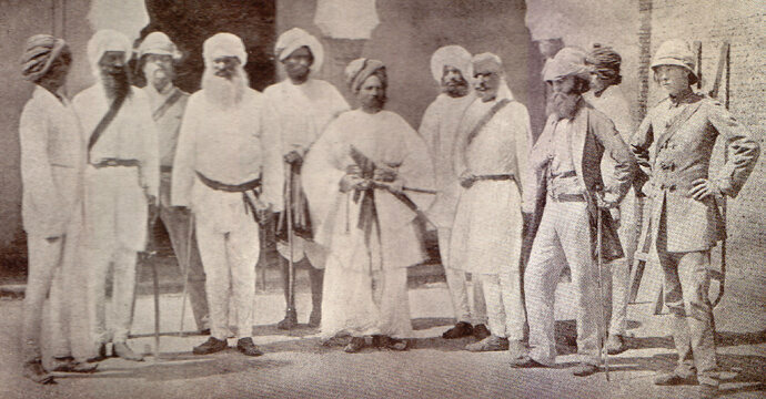 Bearded and mustachioed members of the 18th Punjab Infantry Division, 1859.