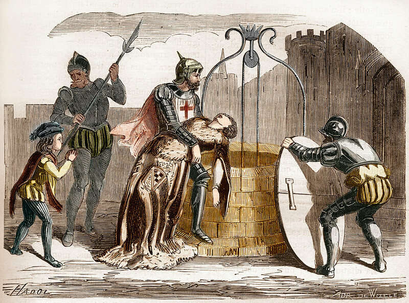 An illustration of Gilles de Rais disposing of a woman's corpse.