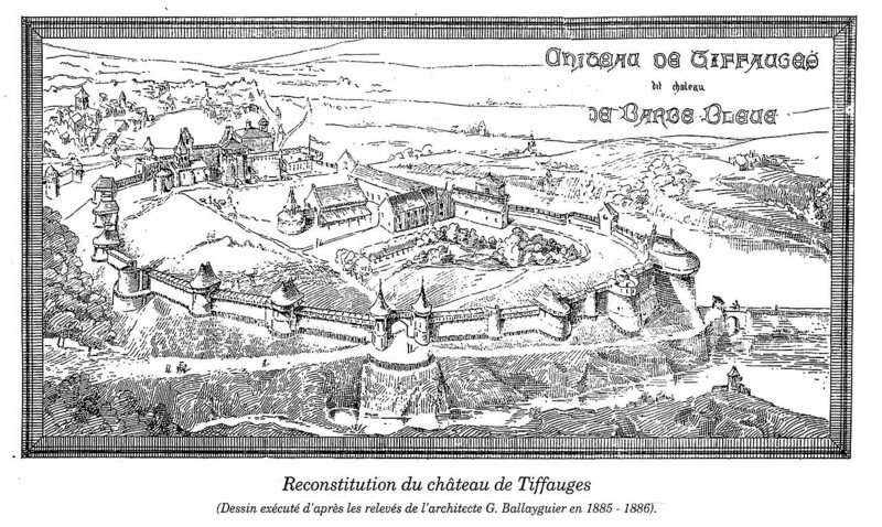 An illustration of Gilles de Rais' castle, Château Tiffauges, also known as Bluebeard's Castle.